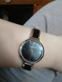 Часики с черной эмалью на металлическом браслете
