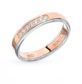 Золотое кольцо с фианитами SOKOLOV 114108-01*: красное и розовое золото 585 пробы, фианит — купить в интернет-магазине SUNLIGHT, фото, артикул 90572