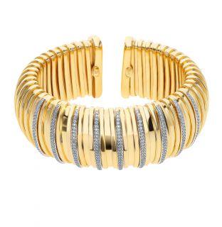 Серебряный браслет с фианитами CASSERO: жёлтое серебро 925 пробы, фианит — купить в интернет-магазине SUNLIGHT, фото, артикул 91733