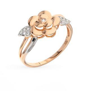 Золотое кольцо с фианитами SOKOLOV 017144*: красное и розовое золото, фианит — купить в интернет-магазине SUNLIGHT, фото, артикул 46749