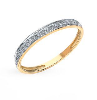 Золотое кольцо с бриллиантами SUNLIGHT: жёлтое золото 585 пробы, бриллиант — купить в интернет-магазине Санлайт, фото, артикул 37075