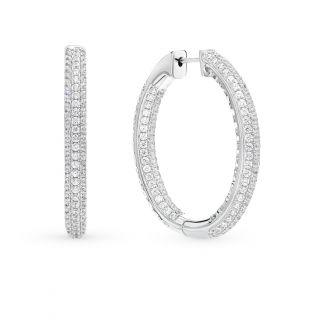 Серебряные серьги с фианитами SUNLIGHT: белое серебро 925 пробы, фианит — купить в интернет-магазине Санлайт, фото, артикул 75380