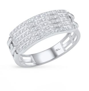 Серебряное кольцо с фианитами SUNLIGHT: белое серебро 925 пробы, фианит — купить в интернет-магазине Санлайт, фото, артикул 30764