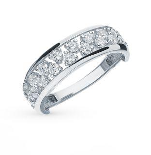 Серебряное кольцо с фианитами СОРОКИН К-3804-Р: белое серебро 925 пробы, фианит — купить в интернет-магазине SUNLIGHT, фото, артикул 107908