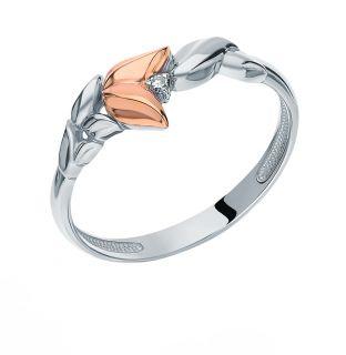 Серебряное кольцо с бриллиантами АЛЬКОР 01-1490/000Б-00: белое серебро 925 пробы, бриллиант — купить в интернет-магазине SUNLIGHT, фото, артикул 98261