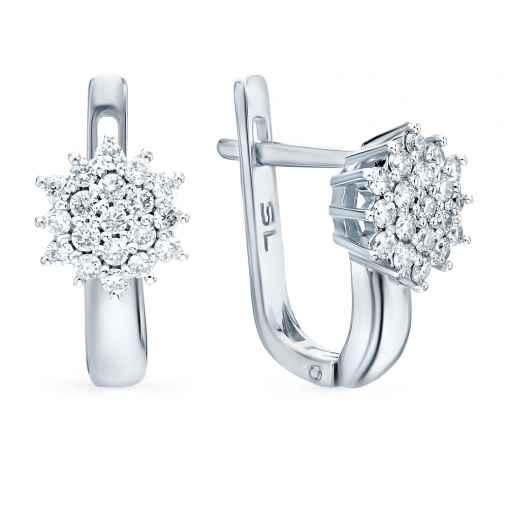 Серьги «Бриллианты Якутии» с 38 бриллиантами, 0.42 карат  Белое золото 585  пробы −52% SUNLIGHT 4924ba91ca3