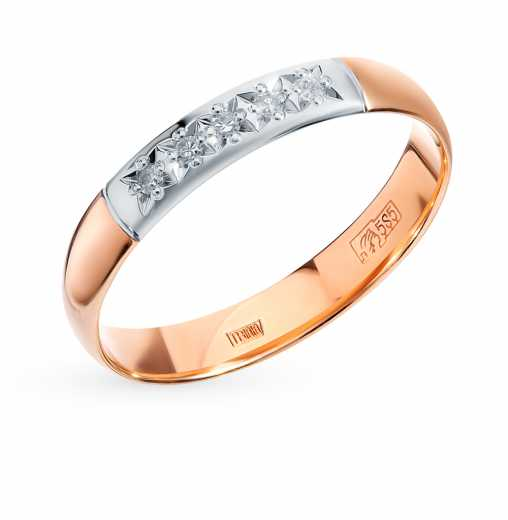 e323a727ecd6 Кольцо SOKOLOV с 5 бриллиантами, 0.04 карат  Розовое золото 585 пробы −50%  SOKOLOV