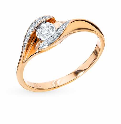 0a0efa90b Кольцо с 1 бриллиантом, 0.05 карат, 16 бриллиантами, 0.03 карат; Розовое  золото 585 пробы. SUNLIGHT