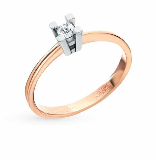 Кольцо «Бриллианты Якутии» с 1 бриллиантом, 0.10 карат  Розовое золото 585  пробы −52% SUNLIGHT c488f0b6b5b