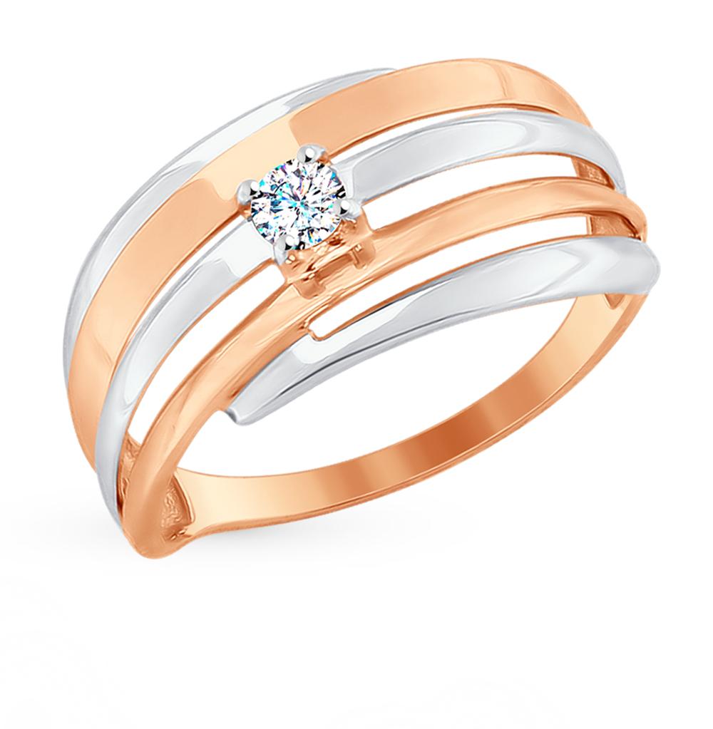 золотое кольцо с фианитами SOKOLOV 017670*