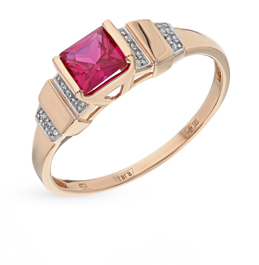 Золотое кольцо с корундами синтетическими и бриллиантами SUNLIGHT ... 01328b62d6c