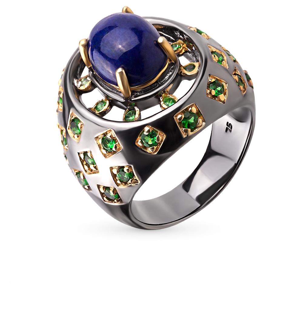 Фото «серебряное кольцо с лазуритом и гранатом»