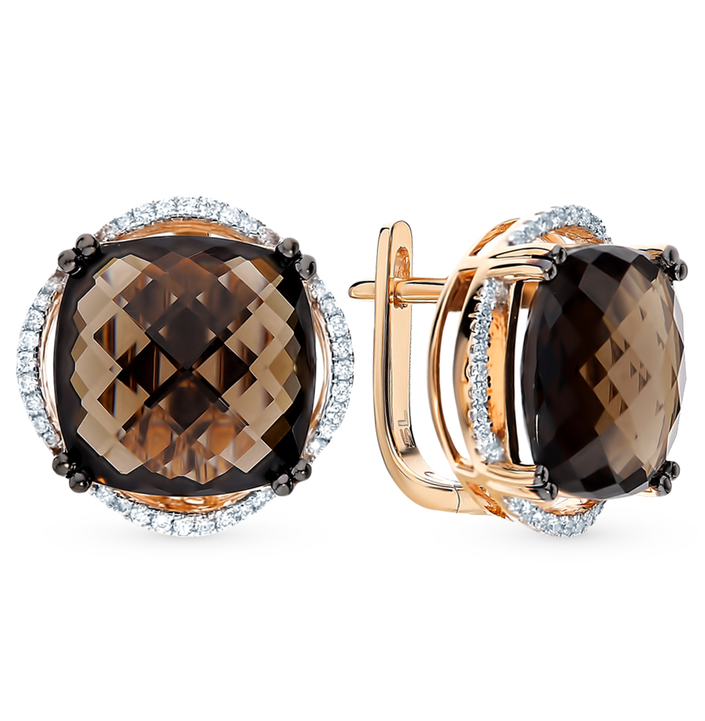 Фото «Золотые серьги с раухтопазами и бриллиантами»