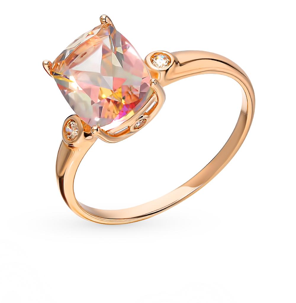 золотое кольцо с топазами и фианитами SOKOLOV 714908*