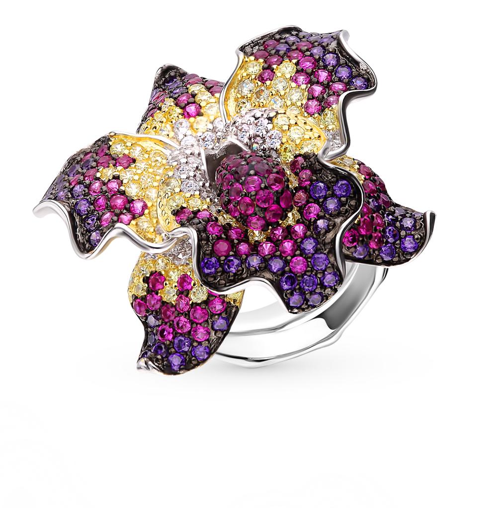 Серебряное кольцо с фианитами и корундами синтетическими в Екатеринбурге