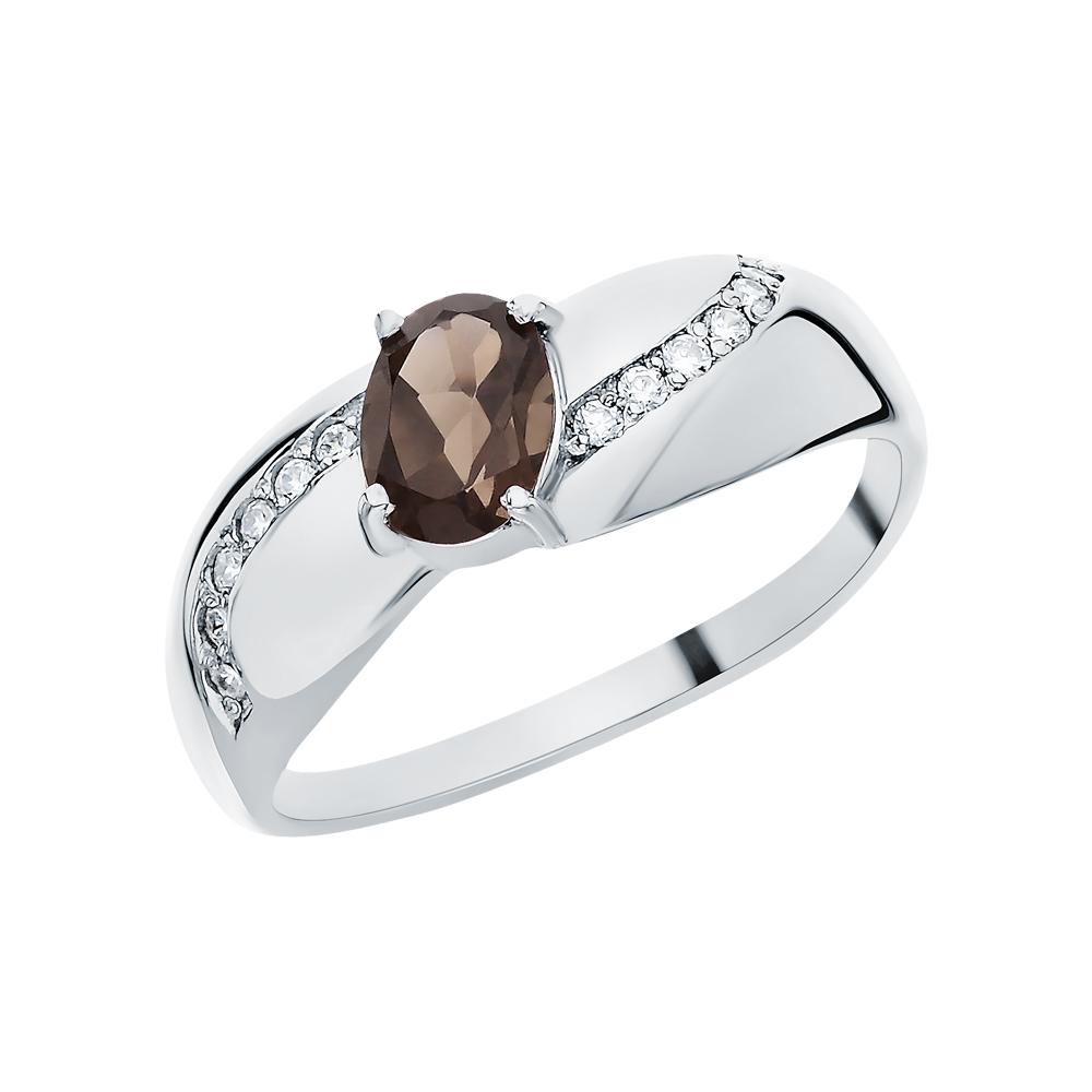 Фото «Серебряное кольцо с раухтопазами и фианитами»