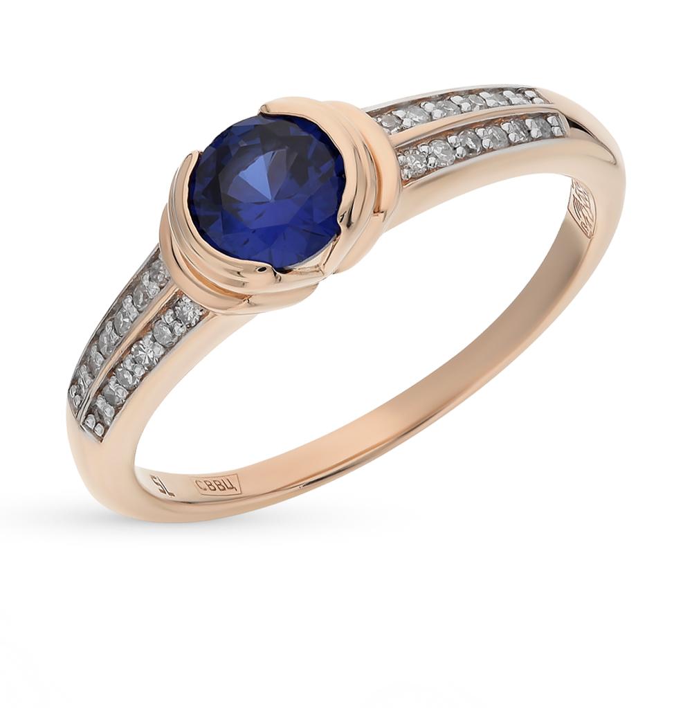 золотое кольцо с корундом и бриллиантами
