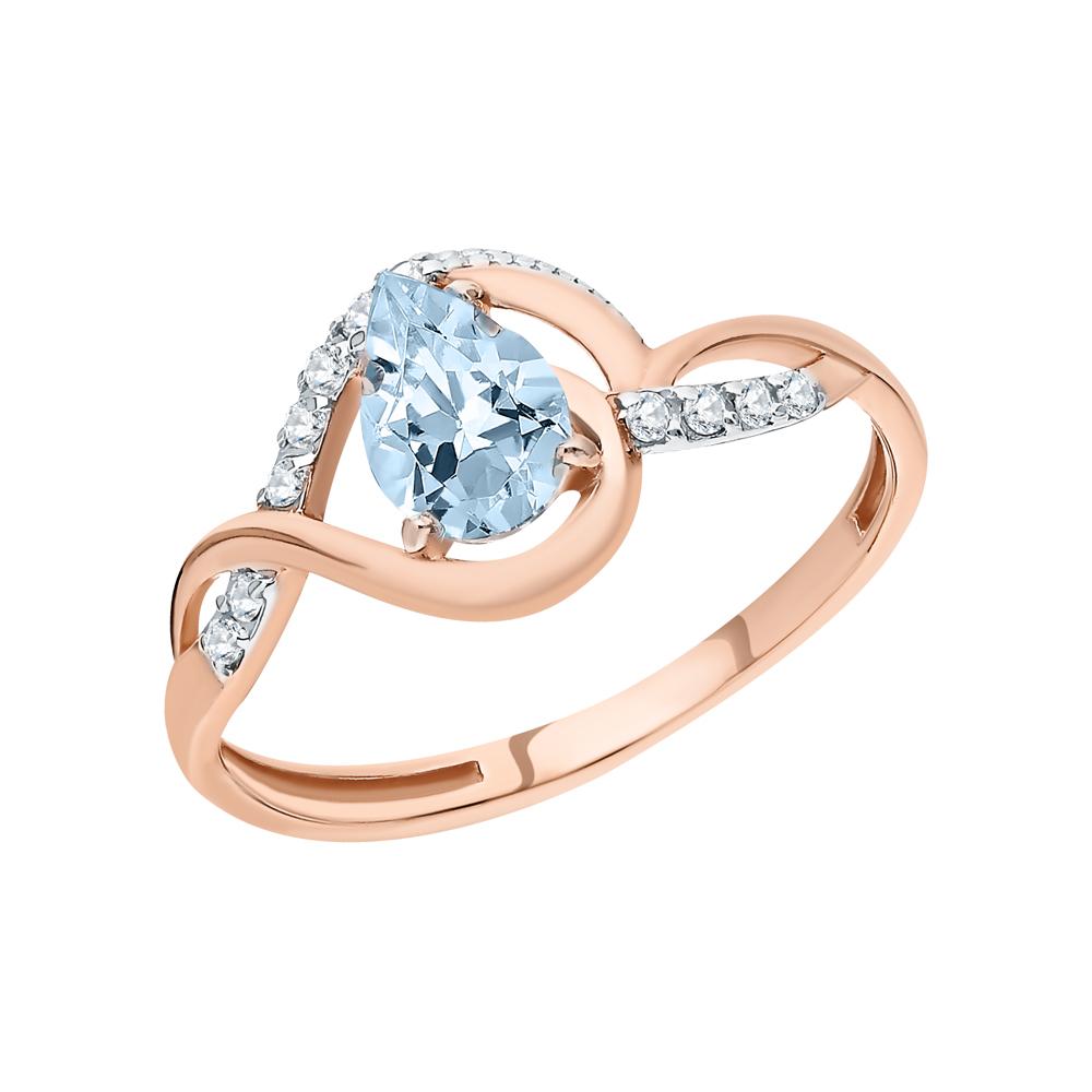Золотое кольцо с топазом и фианитами в Санкт-Петербурге