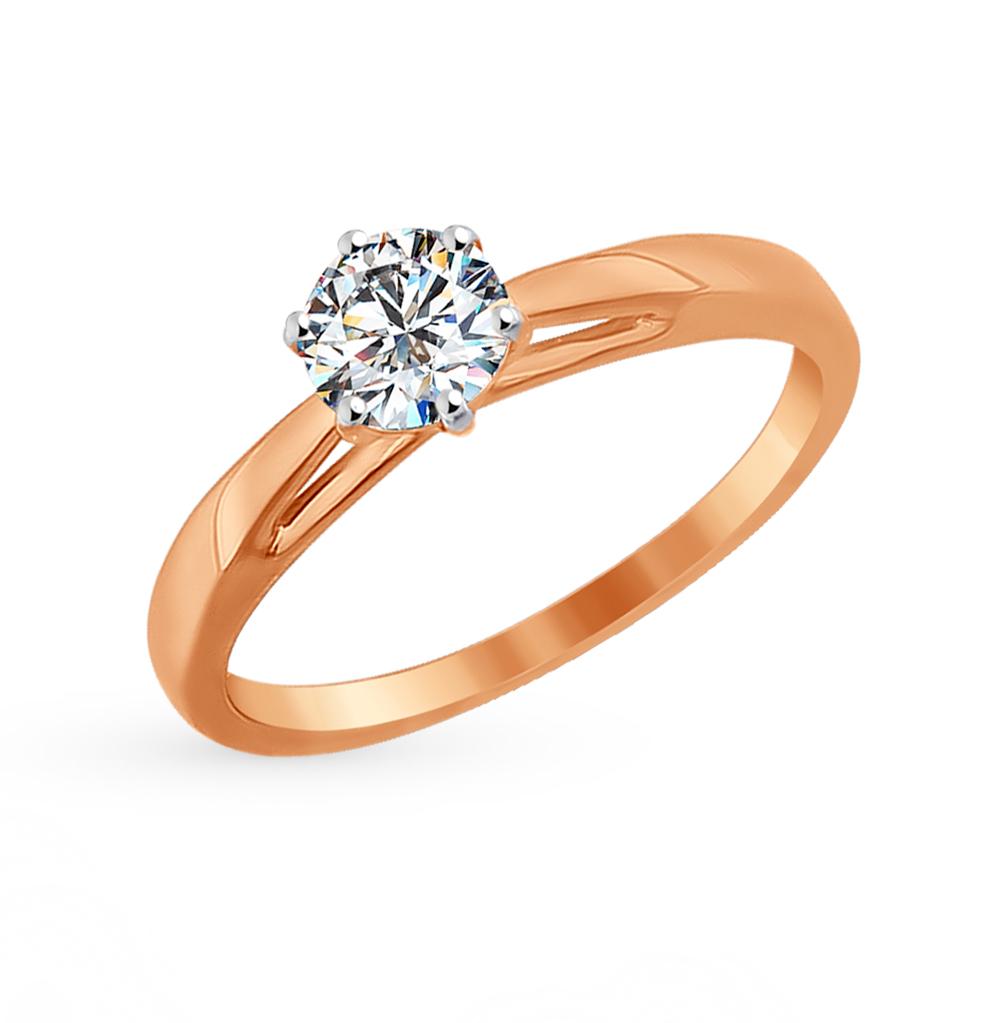 золотое кольцо с фианитами SOKOLOV 81010209*