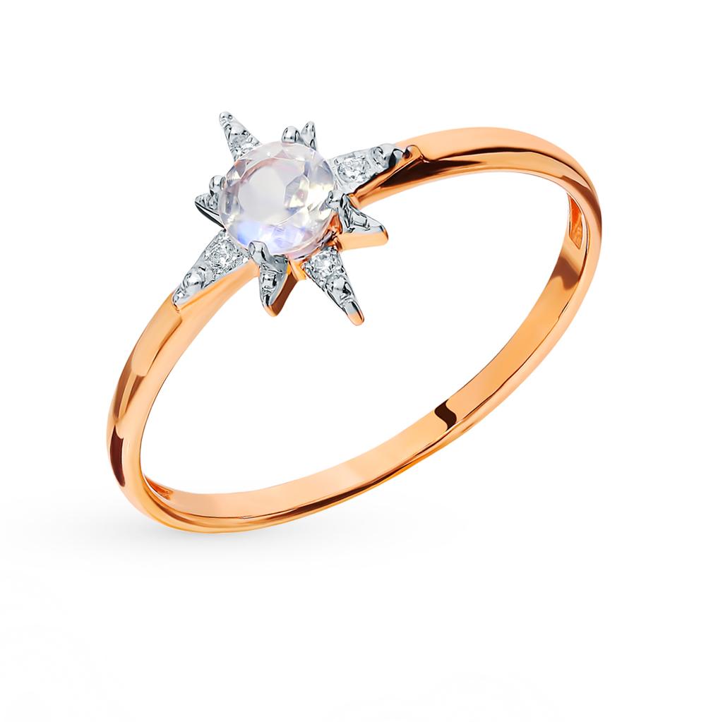 Золотое кольцо с фианитами и лунными камнями в Санкт-Петербурге