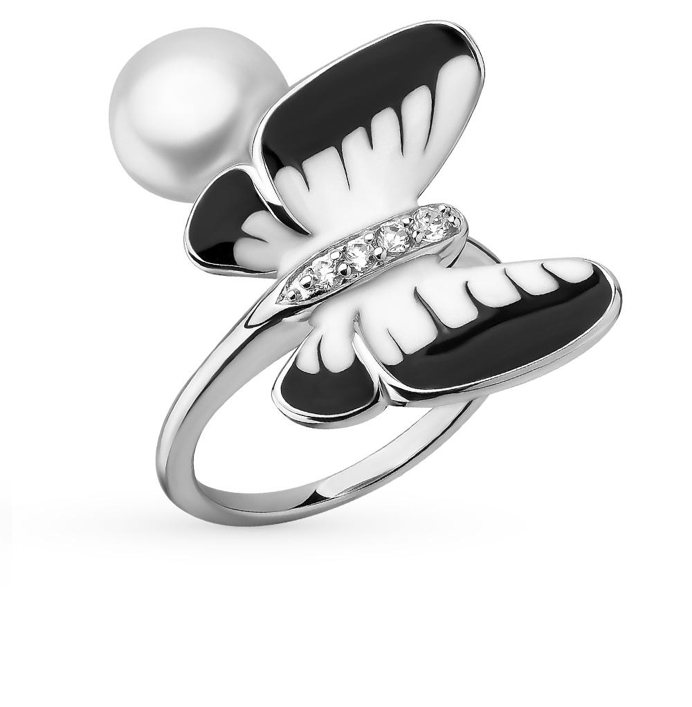 Фото «серебряное кольцо с фианитами, эмалью и жемчугом»
