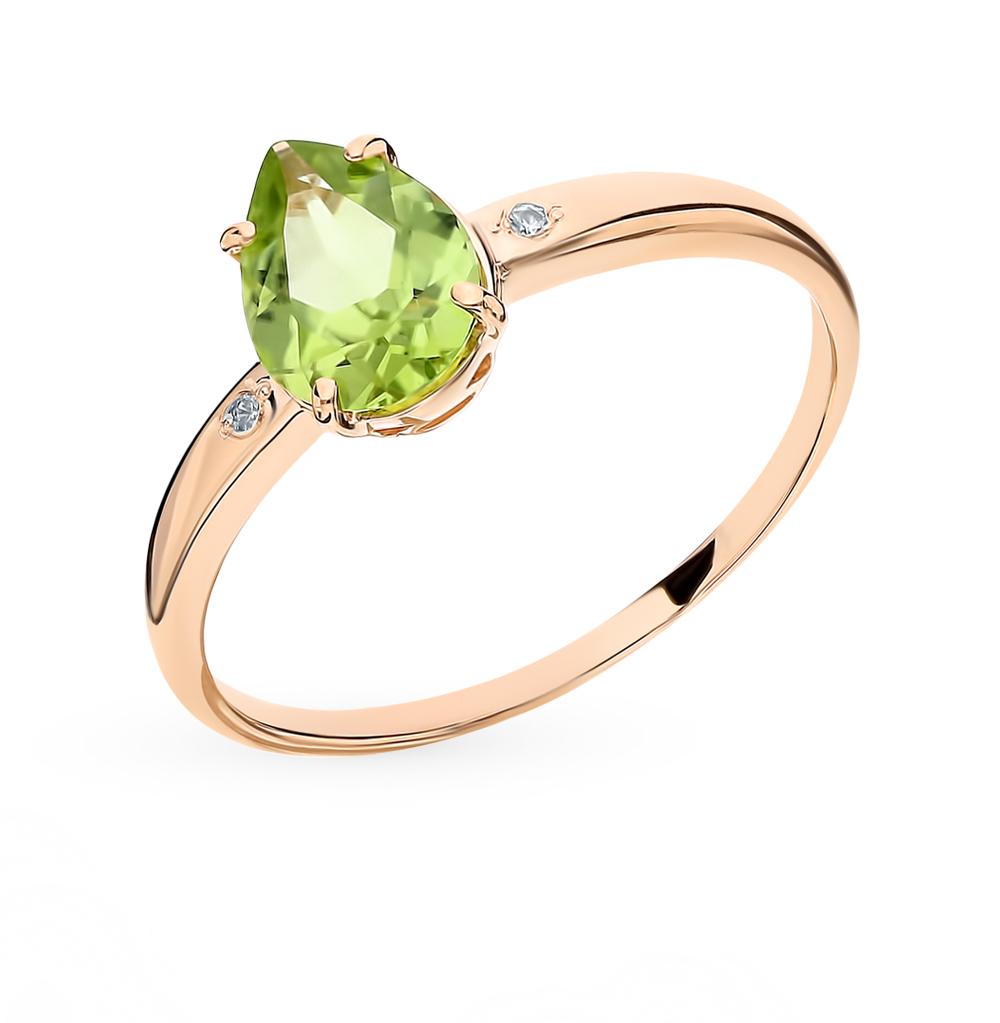 Золотое кольцо с хризолитом и бриллиантами в Екатеринбурге