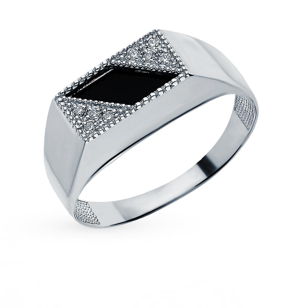 Серебряное кольцо с фианитами и агатом в Екатеринбурге