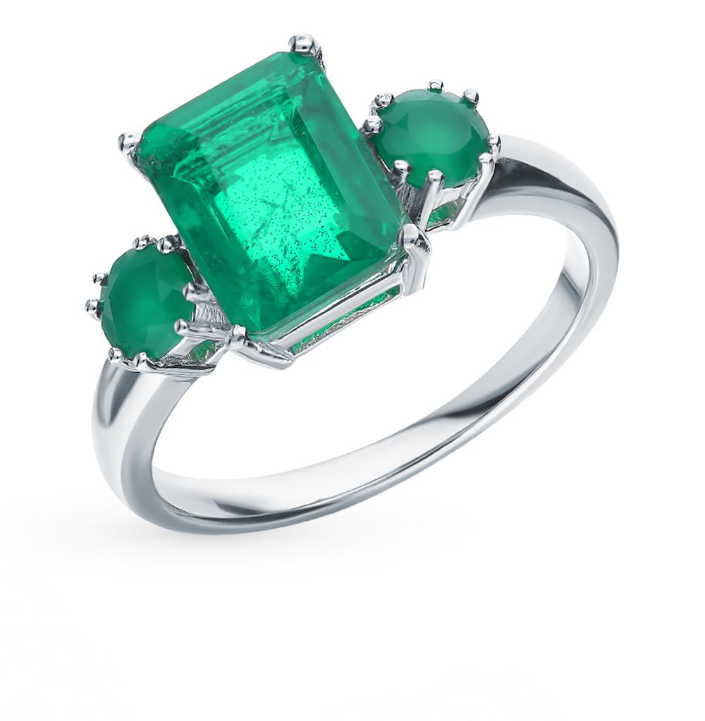 серебряное кольцо с агатом и изумрудами
