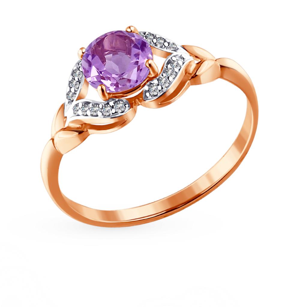 золотое кольцо с аметистом и фианитами SOKOLOV 713876*
