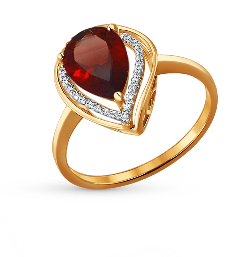золотое кольцо с фианитами и гранатом SOKOLOV 713929*