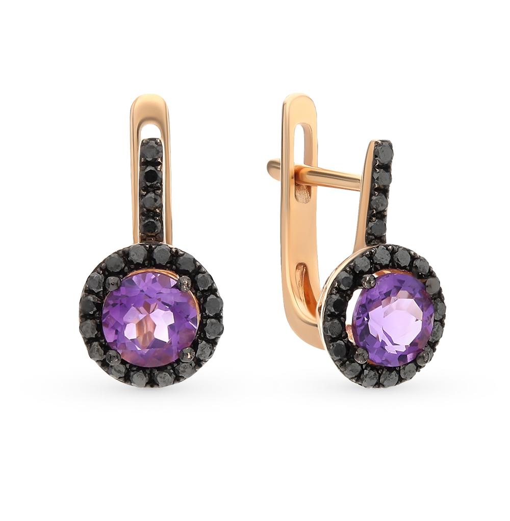 Фото «золотые серьги с аметистом и бриллиантами»