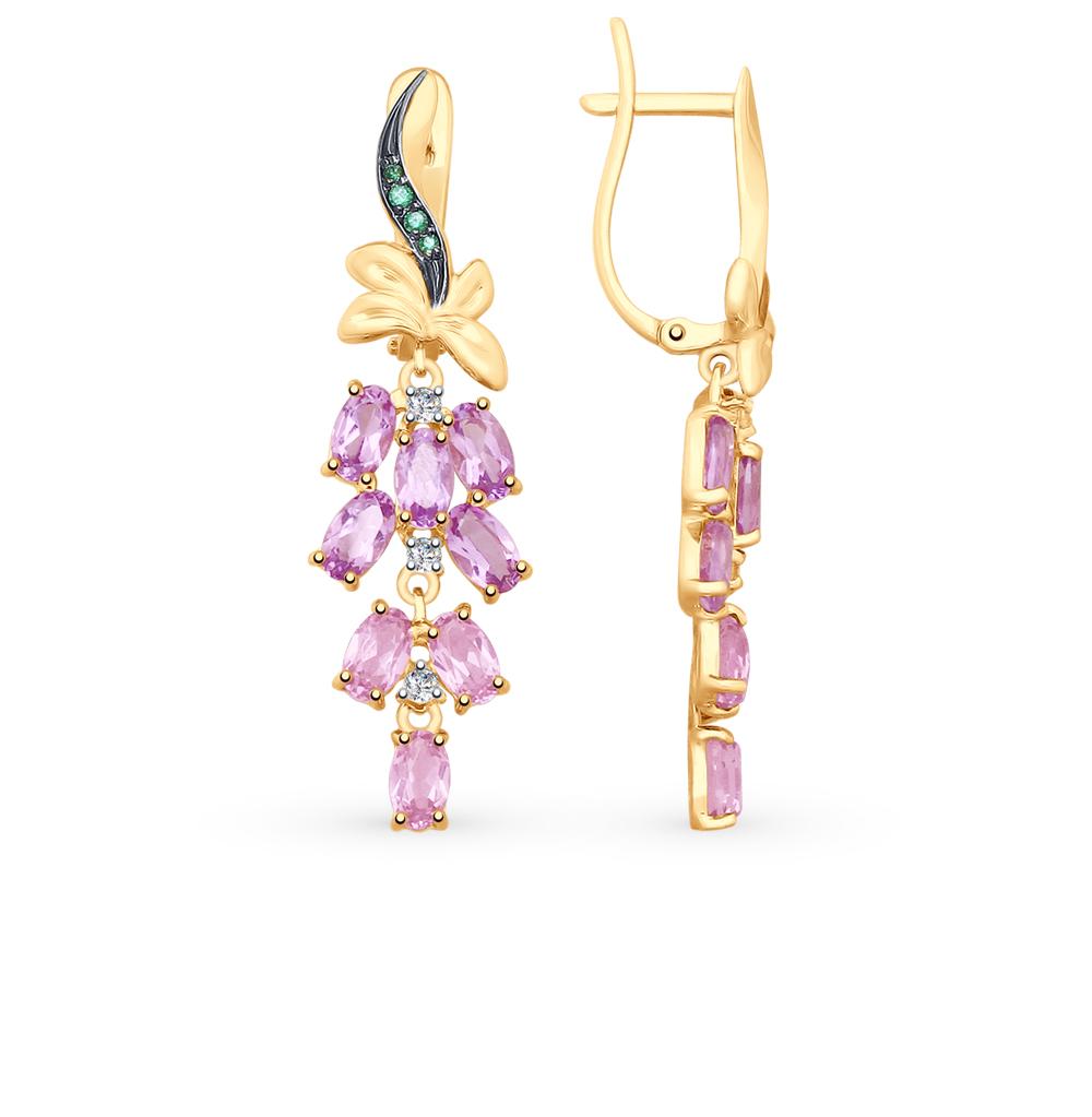 Фото «Золотые серьги с аметистом, фианитами и ситаллами SOKOLOV 725696*»