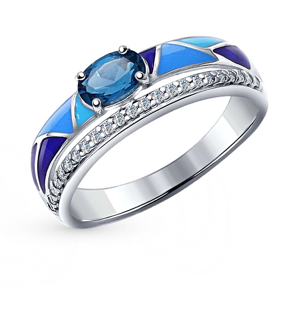 серебряное кольцо с топазами, фианитами и эмалью SOKOLOV 92011182