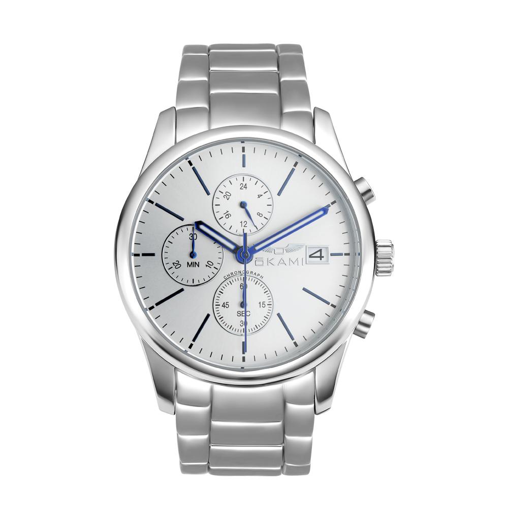 Мужские часы с хронографом на металлическом браслете