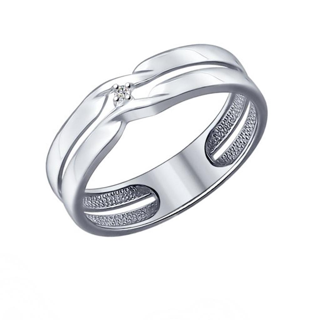 серебряное кольцо с бриллиантами SOKOLOV 87010014