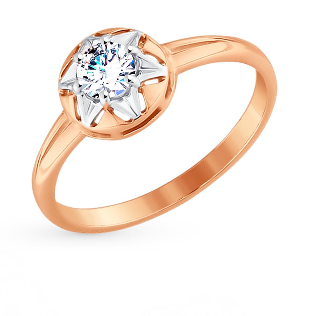 золотое кольцо с фианитами SOKOLOV 017619*