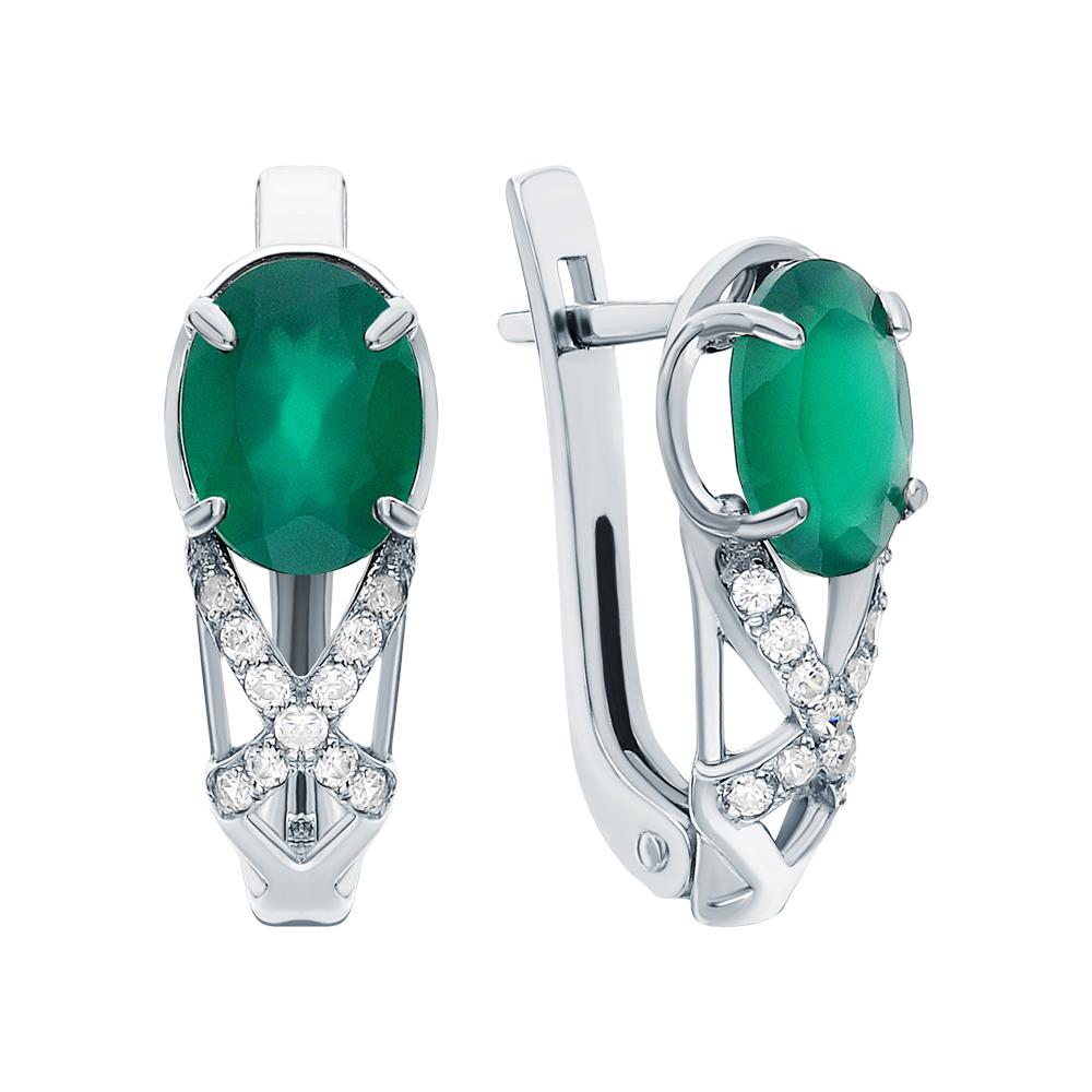 Фото «Серебряные серьги с хризопразами и фианитами»