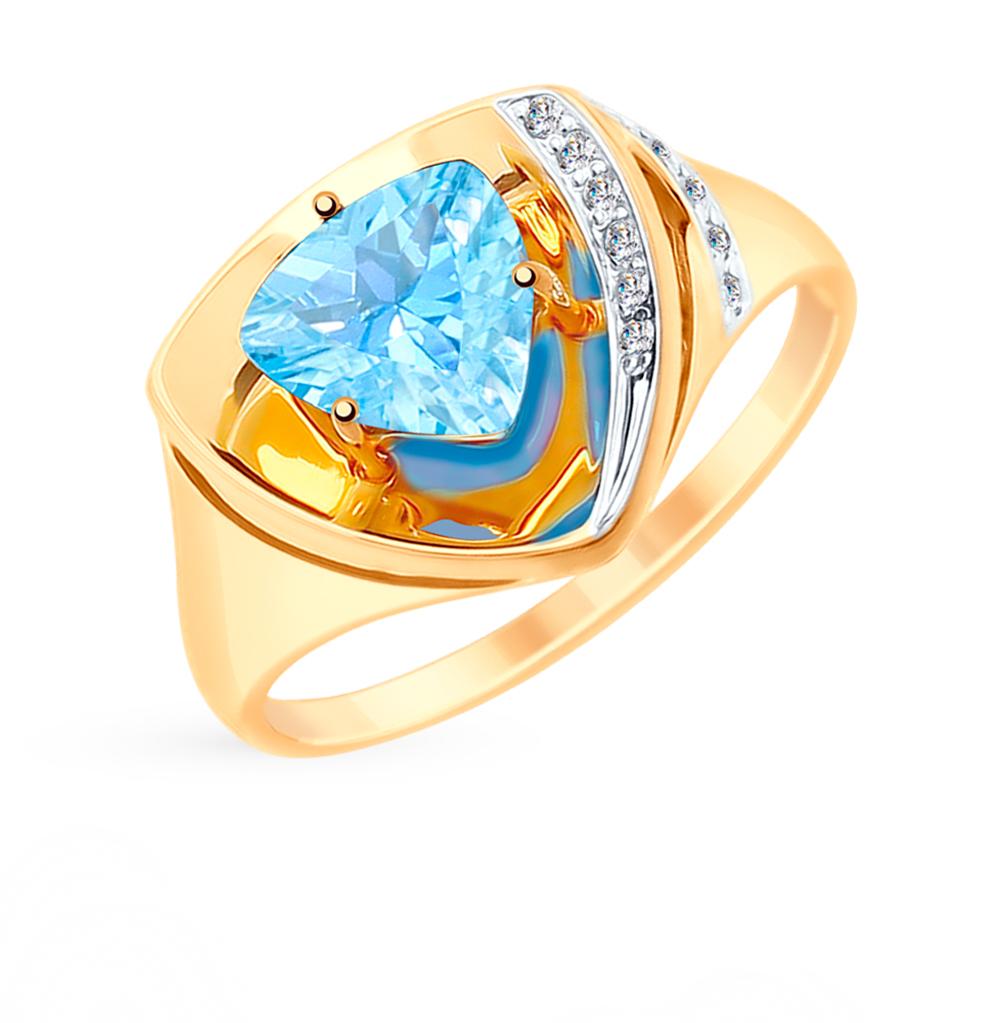 Фото «Золотое кольцо с топазами и фианитами SOKOLOV 715258*»
