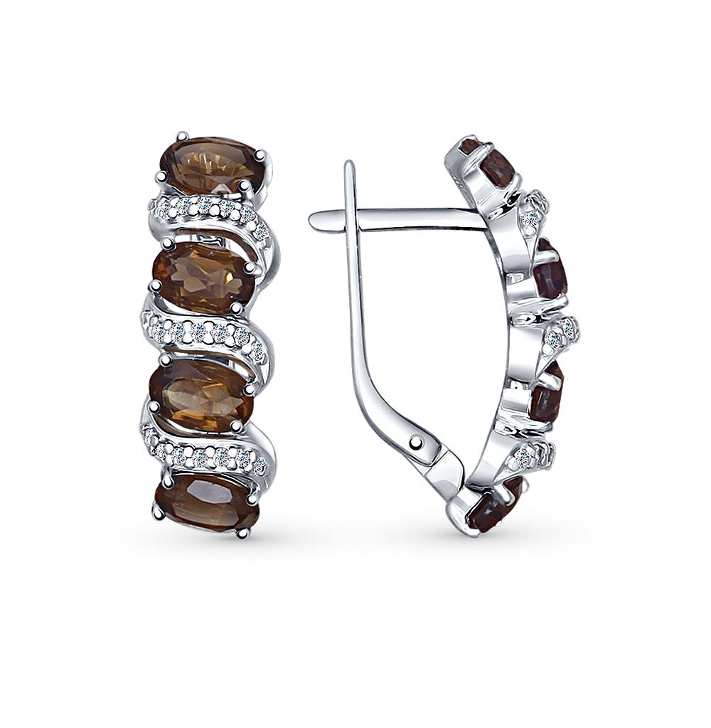 Фото «серебряные серьги с фианитами и раухтопазами (кварцами дымчатый)»