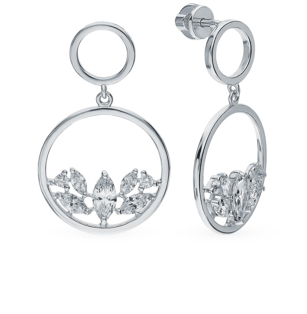 серебряные серьги с фианитами SOKOLOV 94023399