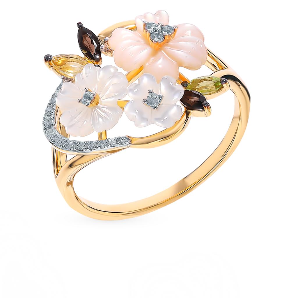 золотое кольцо с сапфирами, хризолитом, раухтопазами, перламутром, цитринами и бриллиантами
