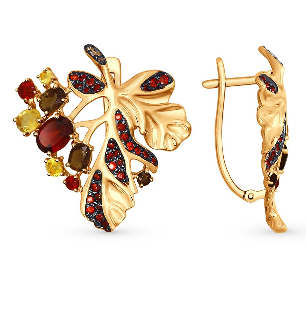 золотые серьги с фианитами, гранатом, цитринами и раухтопазами (кварцами дымчатый) SOKOLOV 724971*