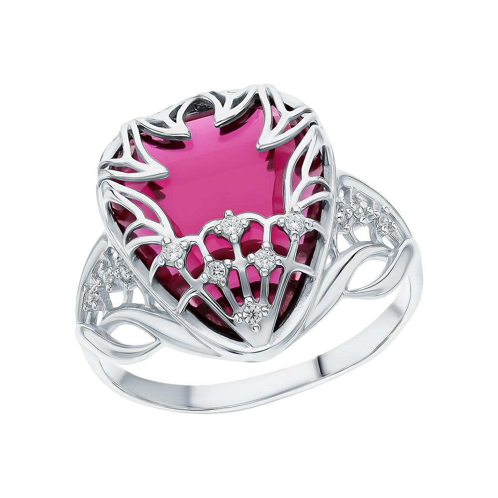 Фото «Серебряное кольцо с рубеллитами и фианитами»