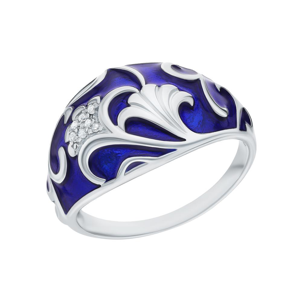 Серебряное кольцо с эмалью и кубическими циркониями в Санкт-Петербурге