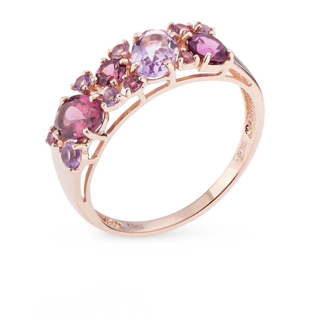 золотое кольцо с родолитами и аметистом
