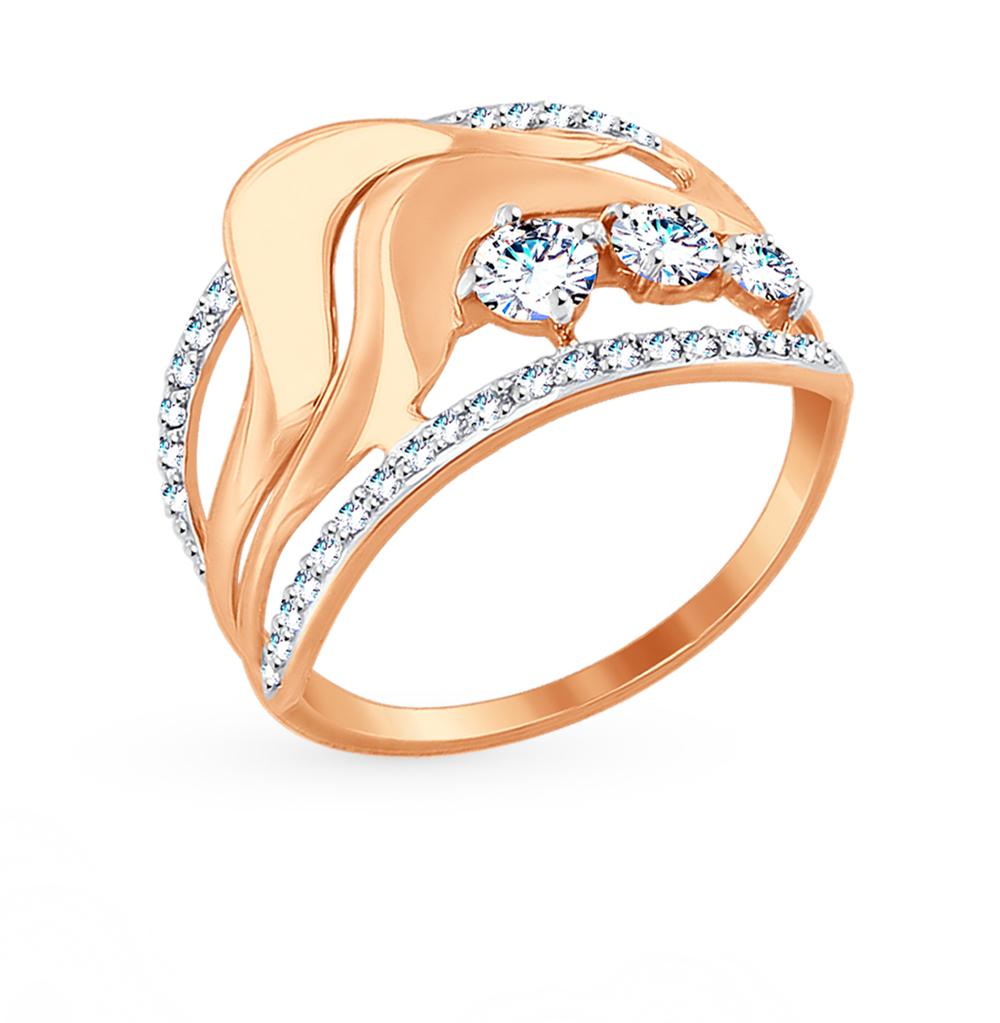 золотое кольцо с фианитами SOKOLOV 017505*
