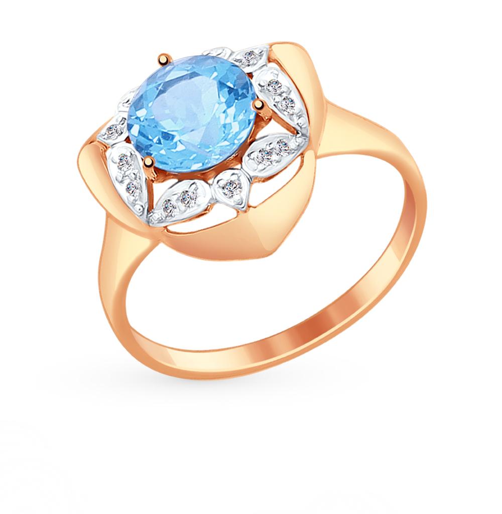 Фото «Золотое кольцо с топазами и фианитами SOKOLOV 714877*»