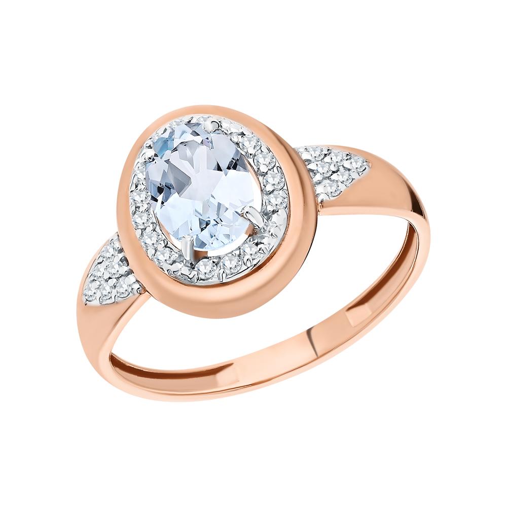 Золотое кольцо с топазом и фианитами в Екатеринбурге