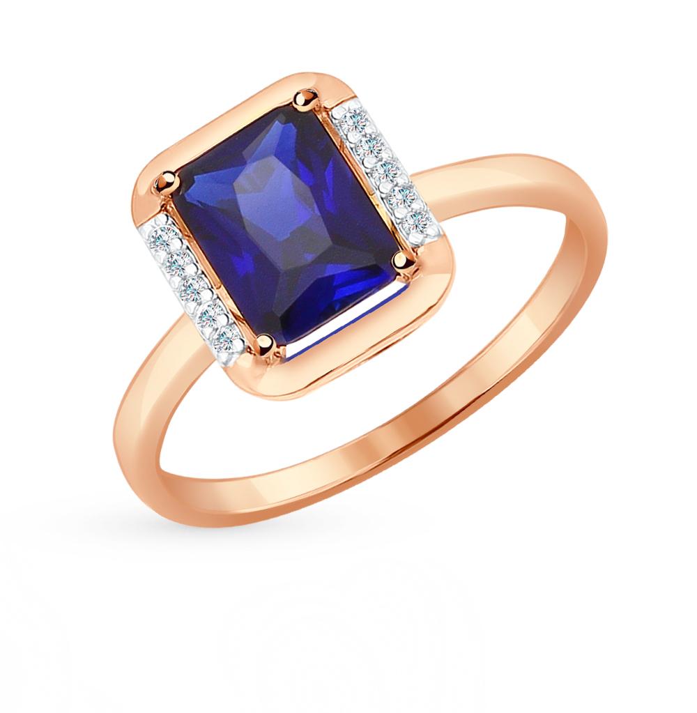 золотое кольцо с корундом и фианитами SOKOLOV 714318*