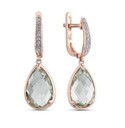 золотые серьги с аметистом и бриллиантами